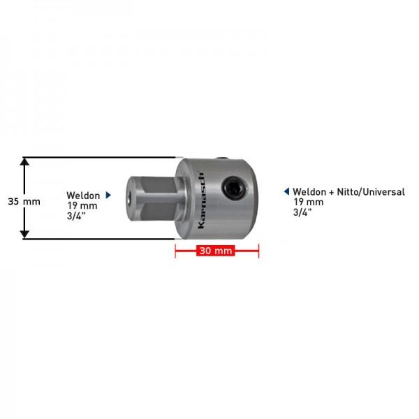 Удължител  30 mm Weldon 19 (6,34) - Weldon, Nitto/Universal 19 (201432) от www.magbor.com