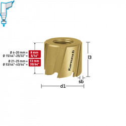 Боркорона Ø  12x8, HSS-M2 и TIN-GOLD покритие, Mini-Cut