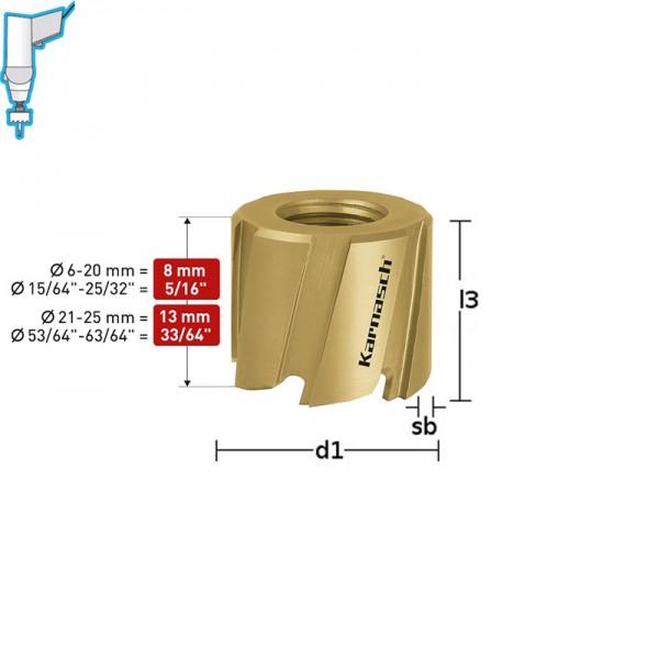 Боркорона Ø  12x8, HSS-M2 и TIN-GOLD покритие, Mini-Cut (211000012) от www.magbor.com