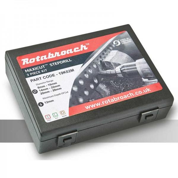 Стъпални свредла Maxi-Cut, комплект 3 бр: Ø8-16, Ø14-22 и Ø20-28 mm (x12 mm) (19K02M) от www.magbor.com