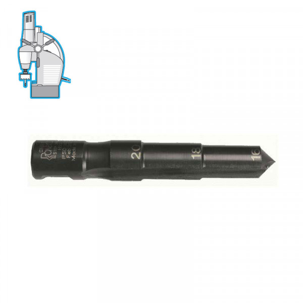 Стъпално свредло Ø 16-18-20 mm (x25 mm), HSS, Weldon 19 (19X16M3) от www.magbor.com