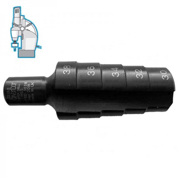 Стъпално свредло Ø 30-32-34-36-38 mm (x12 mm), HSS, Weldon 19 (19X30M5) от www.magbor.com