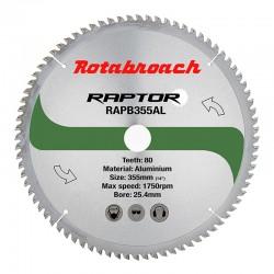 Циркулярен диск 355 mm (25.4) 80T (x2.4) за алуминий Raptor