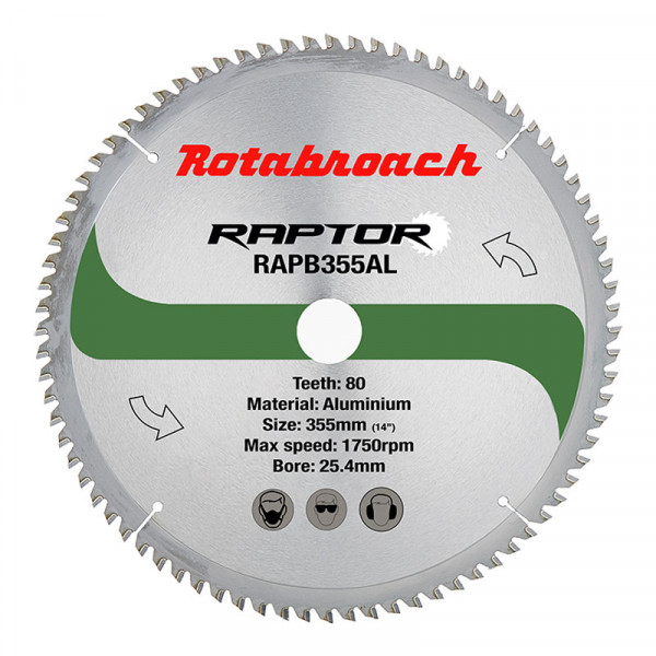 Циркулярен диск 355 mm (25.4) 80T (x2.4) за алуминий Raptor (RAPB355AL) от www.magbor.com