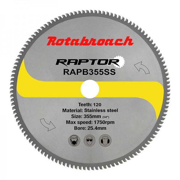 Циркулярен диск 355 mm (25.4) 120T (x2.4) за неръждаема стомана Raptor (RAPB355SS) от www.magbor.com